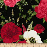 Timeless Treasures Carina Allover Peony & Anemone Black