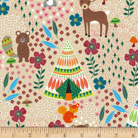 Timeless Treasures Dream Away Teepees & Forest Animals Latte