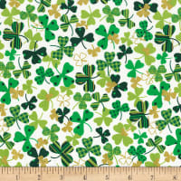 Timeless Treasures Metallic Tossed Patterned Shamrocks White