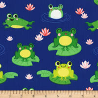Timeless Treasures Pond Friends Frogs On Lillypads Royal