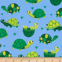 Timeless Treasures Pond Friends Allover Turtle Blue