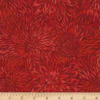 "Timeless Treasures 106"" Batik Wide Back Packed Dahlias Scarlet"