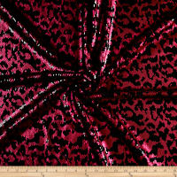 Fancy Leopard Sequin Stretch Fuchsia