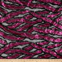 Fancy Feather Sequin Black/Magenta