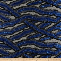 Fancy Feather Sequin Black/Royal