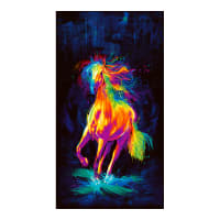 "Timeless Treasures Digital Painted Horse 24"" Panel Black"