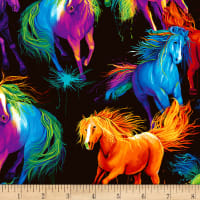 Timeless Treasures Digital Painted Horse Allover Painted Horse Black