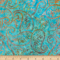 Timeless Treasures Tonga Batik Dragonfly Paisley Aqua