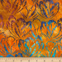 Timeless Treasures Tonga Batik Dragonfly Hibiscus Sunset
