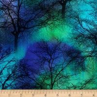 Timeless Treasures Northern Lights Trees Cobalt