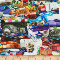 Timeless Treasures Digital Cats On Quilts Multi