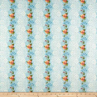 Romantique Digital Print Stripe Floral Blue/Green/White