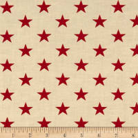"Patriotic 45"" Quilt Backs Stars Red/Antique"