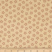 "Patriotic 45"" Quilt Backs Small Stars Red/Antique"