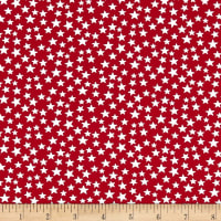 "Patriotic 108"" Quilt Stars Dot Backs Red/White"