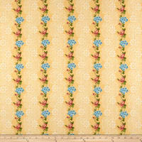 Romantique Digital Print Stripe Floral Ivory/Blue