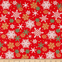Christmas Snowflakes Metallic Red/Gold