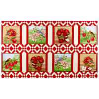 "Henry Glass Apple Festival 24"" Block Panel Red"