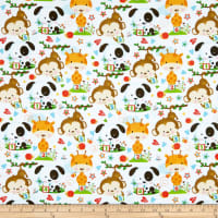 Henry Glass Flannel Puppy & Pals Allover Characters White/Multi