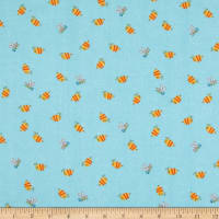 Henry Glass Flannel Puppy & Pals Bees Blue