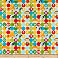 Henry Glass Flannel Puppy & Pals Dots With Characters Multi