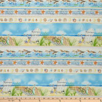 Henry Glass Coastal Paradise Novelty Stripe Blue