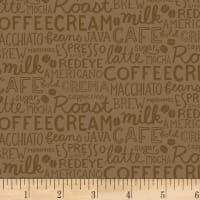 Clothworks Coffee Lover Collage Light Brown