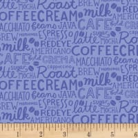 Clothworks Coffee Lover Collage Periwinkle