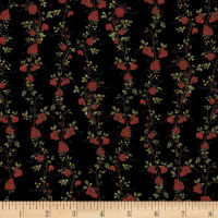 Clothworks Everlasting Rose Stripe Black