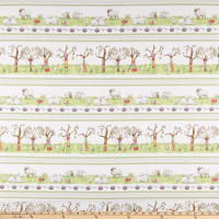 Clothworks Fair Isle Friends Pictorial Stripe Light Cream