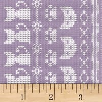 Clothworks Fair Isle Friends Pictorial Stripe Light Purple