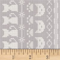 Clothworks Fair Isle Friends Pictorial Stripe Taupe