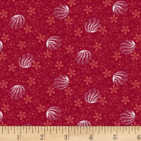 Clothworks Wintertide Orbs Dark Red