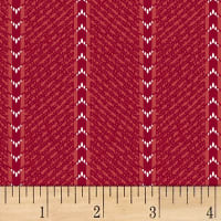 Clothworks Wintertide Stripe Light Red