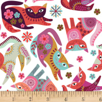 Clothworks Stitch Cats Toss White