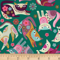 Clothworks Stitch Cats Toss Emerald