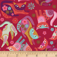 Clothworks Stitch Cats Toss Red