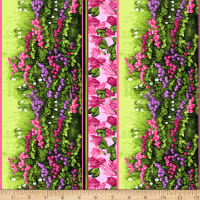 Clothworks Misty Meadow Pictorial Stripe Pink