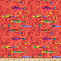 Clothworks Sea Goddess Toss Tomato Metallic