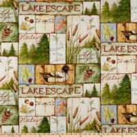 Susan Winget Lakehouse Living Lake Living Scenic Patch Eco Canvas Multi