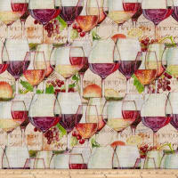 Susan Winget Modern Wine Glasses Heavy Linen Multi