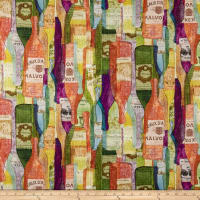 Susan Winget Modern Wine Bottles Heavy Linen Multi