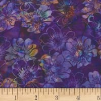 Hoffman Bali Batik Graphic Floral New Grape