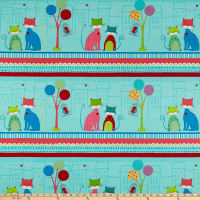 "Stof Fabrics Denmark Down Town Kitty Cat 24"" Panel Stripes Bright"