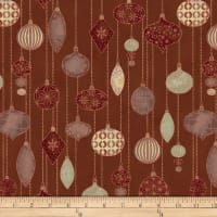 Stof Fabrics Denmark Glimmering Christmas Ornaments Metallic Brown/Copper