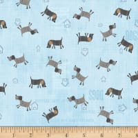Stof Fabrics Denmark My Best Friend Dogs Blue