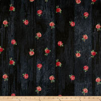 Stof Fabrics Denmark Rosies Summer Roses On Dark Grey