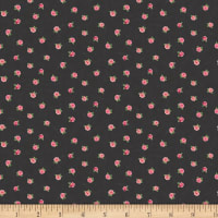 Stof Fabrics Denmark Rosies Summer Roses On Dark Black
