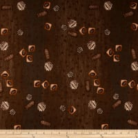 Stof Fabrics Denmark Take A Break Coffee Beans Brown