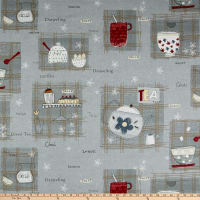 "Stoffabric Denmark Tea Time Tea 24"" Panel Grey"